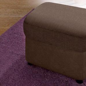 DOMO collection Hocker, FSC®-zertifiziert, braun, Material Kunstleder, mit Schlaffunktion, frei stellbar