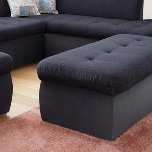 DOMO collection Hocker 0, Luxus-Microfaser / Struktur, mit Staufach blau Polsterhocker Nachhaltige Möbel