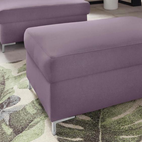 DOMO collection Polsterhocker Luxus-Microfaser lila Hocker Nachhaltige Möbel