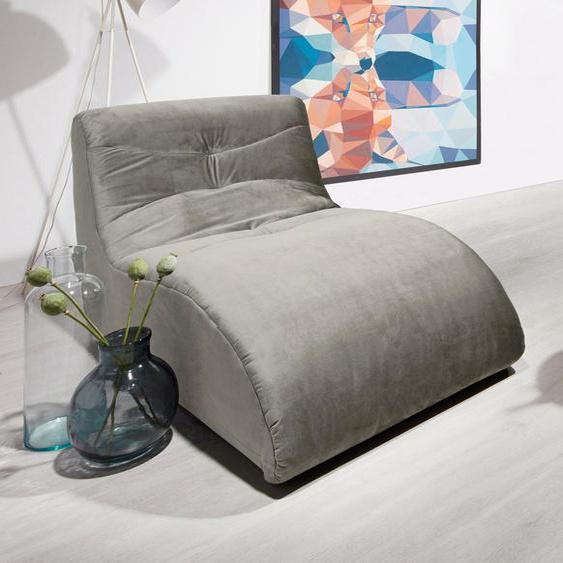 DOMO collection Relaxliege Samtstoff, 85 cm grau Relaxliegen Sessel Sofas