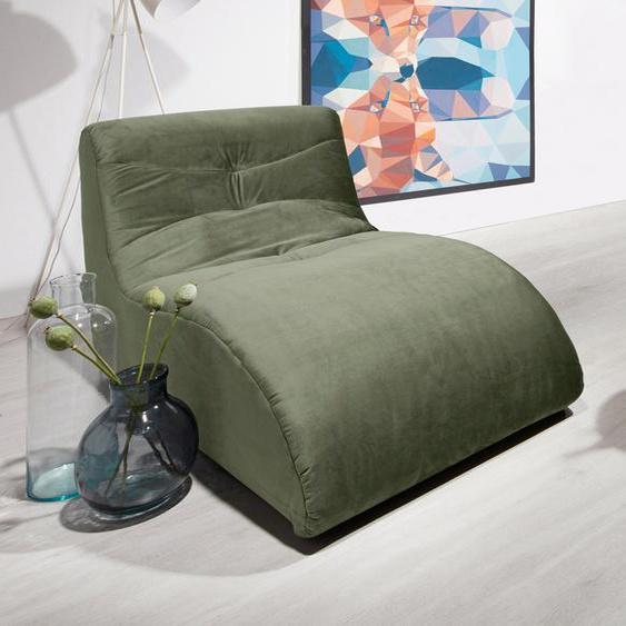 DOMO collection Relaxliege B/H/T: 85 cm x 79 163 cm, Samtstoff grün Relaxliegen Sessel