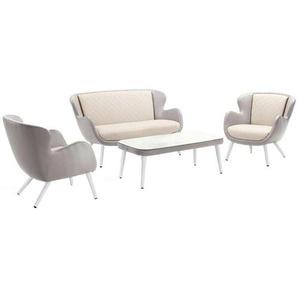 Domus Ventures Brighton Loungeset 4-teilig Aluminium/Olefin Teaklook/Grau