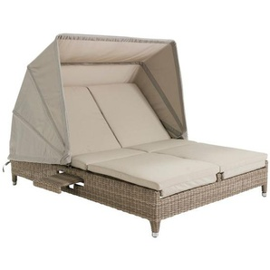 Domus Ventures Cleveland Lecce Loungeliege Halbrundgeflecht/Olefin White-Pepper/Warm-Grey