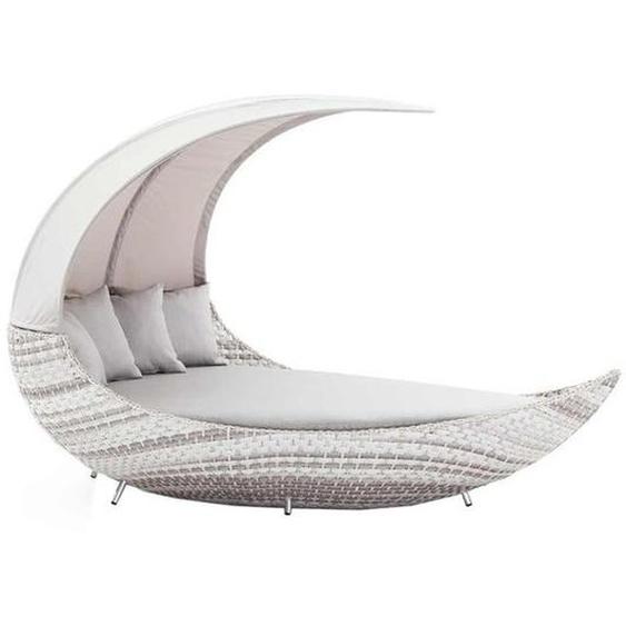 Domus Ventures Crescent Loungeschiff Duo Wave Geflecht/Olefin Weiß Hellgrau