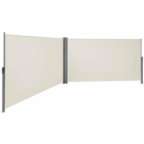 Doppel Seitenmarkise 180 x 600cm TÜV SÜD zertifiziert verdickter Polyester 280g/m² Beige GSA360E - beige