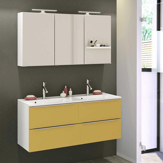 Doppel Waschplatz Set in Gelb und Weiß LED Beleuchtung (2-teilig)