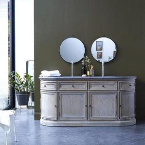 Doppel Waschtisch aus Eiche integrierten Keramik Waschbecken Steinplatte Bad neu