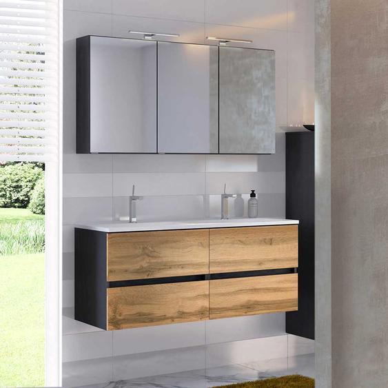 Doppel Waschtisch und Spiegelschrank in Wildeichefarben Anthrazit (2-teilig)