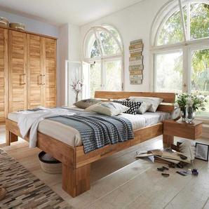 Doppelbett aus Wildeiche Massivholz ge�lt