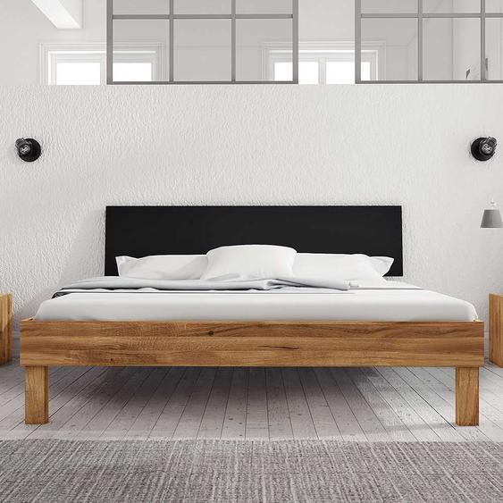 Doppelbett aus Wildeiche teilmassiv modern