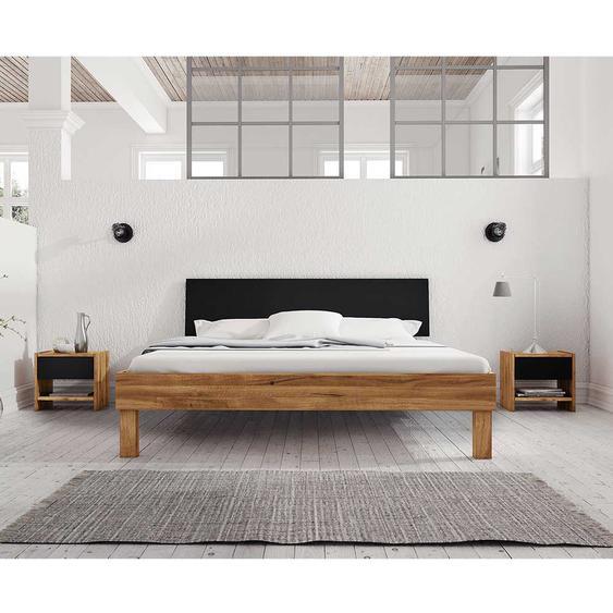 Doppelbett aus Wildeiche teilmassiv zwei Nachtkommoden (3-teilig)