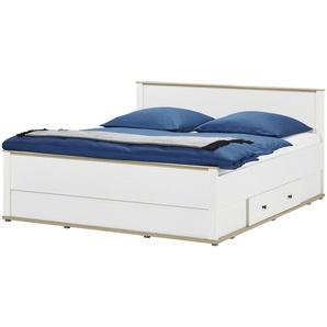 Doppelbett 180x200 - weiß - Lärche/Eiche (Optik) Carmen ¦ weiß ¦ Maße (cm): B: 188 H: 96 T: 206,5 Betten  Futonbetten » Höffner