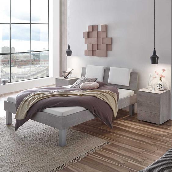 Doppelbett in Beton Grau gepolstertem Kopfteil in Weiß (3-teilig)