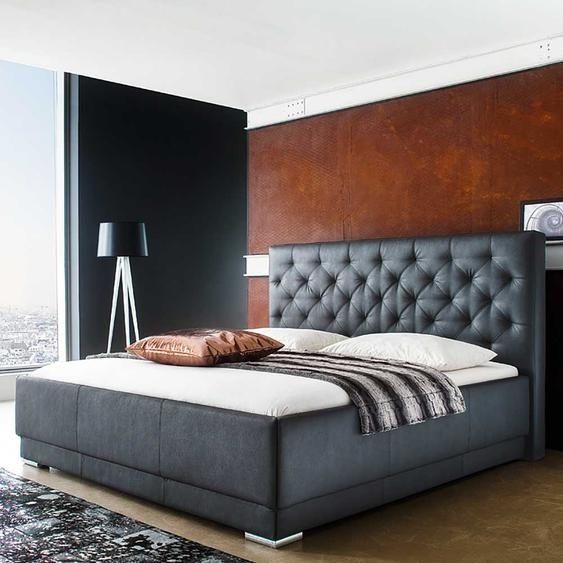 Doppelbett in Schwarz Kunstleder gestepptem Kopfteil