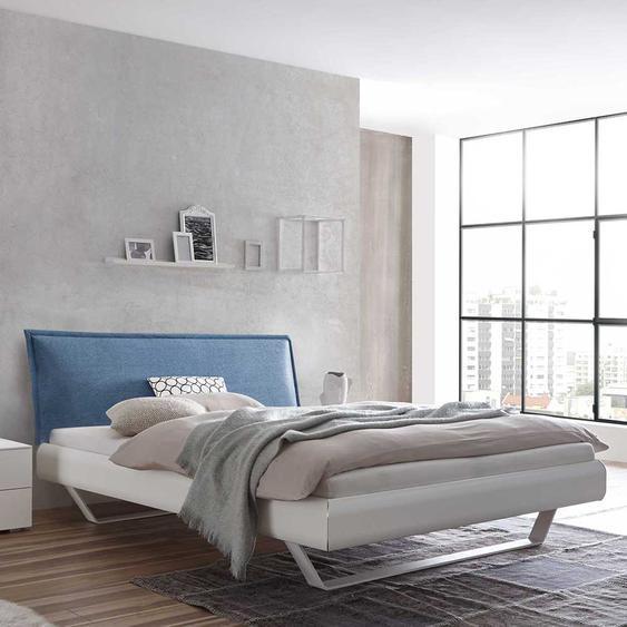 Doppelbett in Weiß Polsterkopfteil in Blau