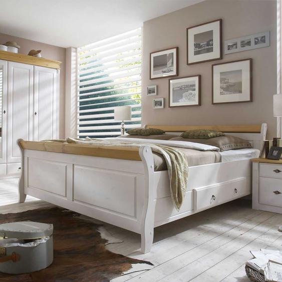 Doppelbett in Weiß Kiefer teilmassiv