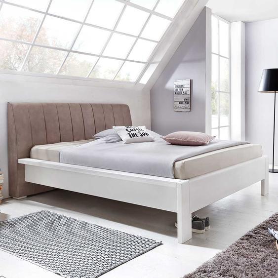 Doppelbett in Weiß und Braun Polsterkopfteil