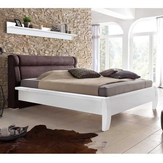 Doppelbett in Weiß und Dunkelbraun Polsterkopfteil