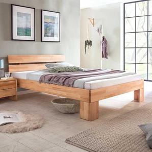 Doppelbettgestell aus Kernbuche Massivholz modern
