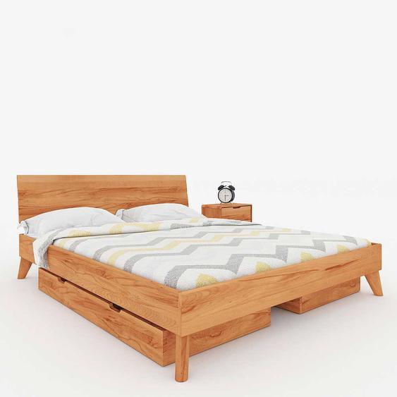 Doppelbettgestell aus Kernbuche Massivholz Schubladen