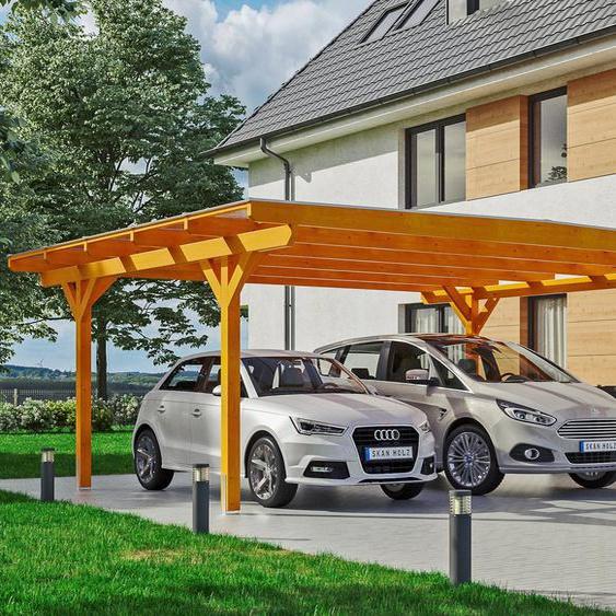 Doppelcarport »Odenwald«, Skanholz, braun, Material Fichtenholz
