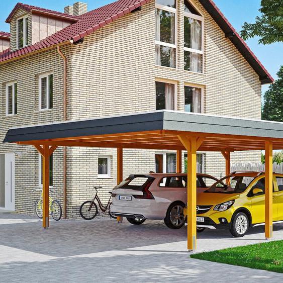Doppelcarport »Wendland«, Skanholz, braun, Material Fichtenholz, Aluminium