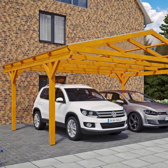 Doppelcarport »Westerwald«, Skanholz, braun, Material Fichtenholz
