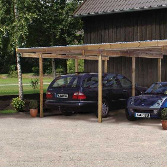 Doppelcarport »Eco 1«, Karibu, Material Fichtenholz