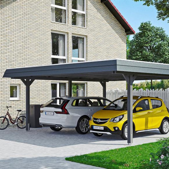 Doppelcarport »Wendland«, Skanholz, grau, Material Fichtenholz