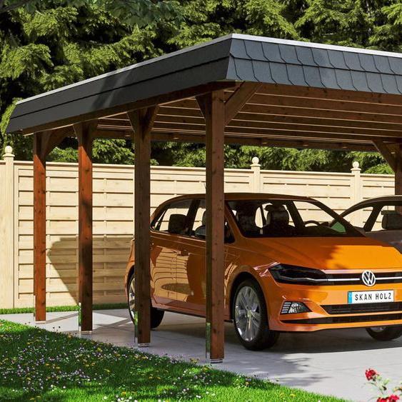 Doppelcarport »Spreewald«, Skanholz, braun, Material Fichtenholz, Aluminium