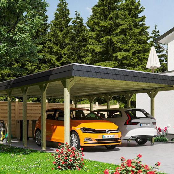 Doppelcarport »Spreewald«, Skanholz, grün, Material Fichtenholz, Aluminium