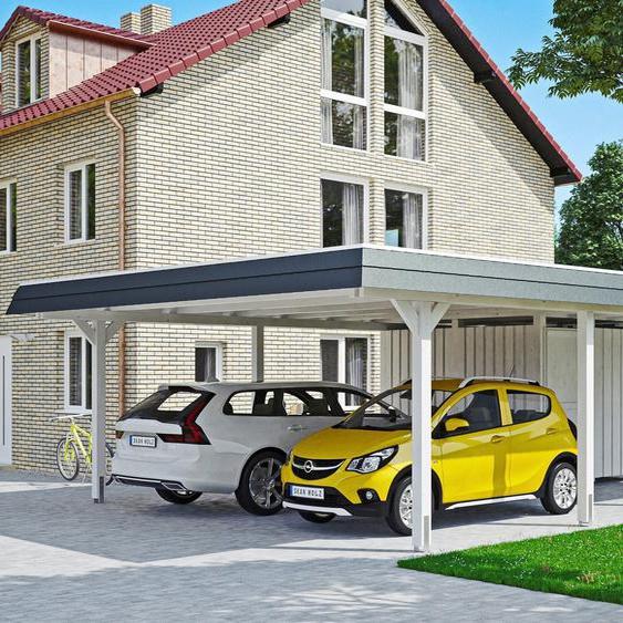 Doppelcarport »Wendland«, Skanholz, weiß, Material Fichtenholz