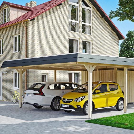 Doppelcarport »Wendland«, Skanholz, beige, Material Fichtenholz