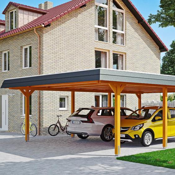 Doppelcarport »Wendland«, Skanholz, braun, Material Fichtenholz