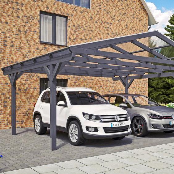 Doppelcarport »Westerwald«, Skanholz, grau, Material Fichtenholz