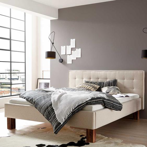 Doppeltbett in Beige Webstoff 160x200 cm