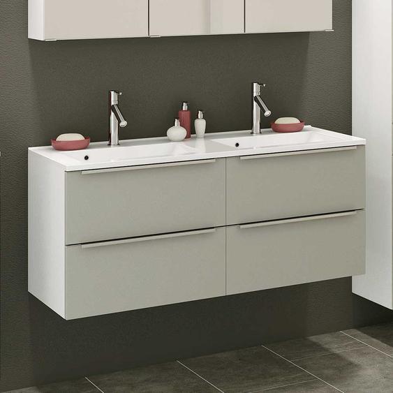 Doppelwaschplatz in Grau und Weiß 120 cm breit