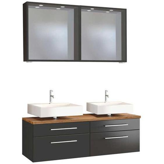 Doppelwaschtisch und Spiegel in dunkel Grau Wildeichefarben (3-teilig)