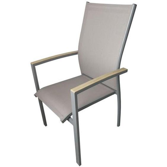 DOPPLER Expert Sessel, silber/beige, Alu/Textilene, 56x63x100 cm, stapelbar