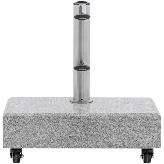 Doppler Sonnenschirmständer Granit Grau , Metall, Stein , 45x46x22 cm