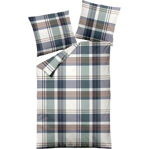 Dormisette Bettwäsche Karo, mit großen Karos B/L: 240 cm x 220 (1 St.), 80 (2 Feinbiber beige nach Größe Bettwäsche, Bettlaken und Betttücher