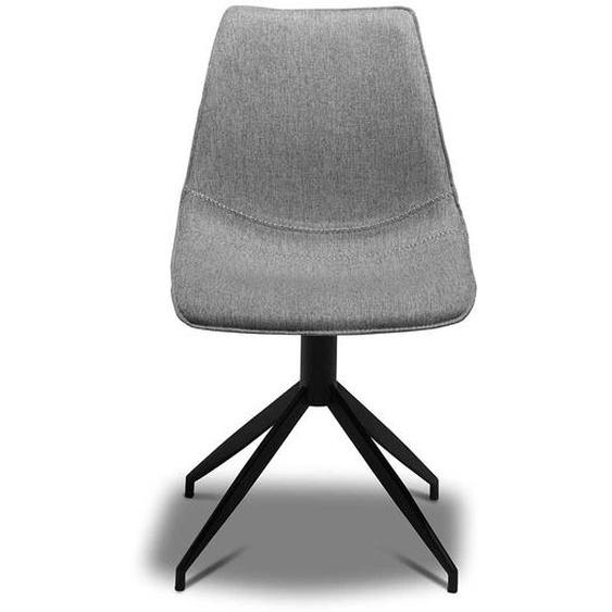 Drehbare Esszimmerstühle in Hellgrau Webstoff modern (2er Set)
