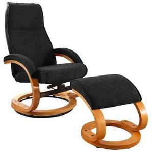 Drehbarer Design Sessel in Schwarz Microfaser Fu�hocker (2-teilig)