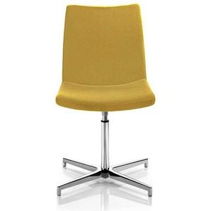 Drehbarer Polsterstuhl in Gelb Webstoff Made in Germany