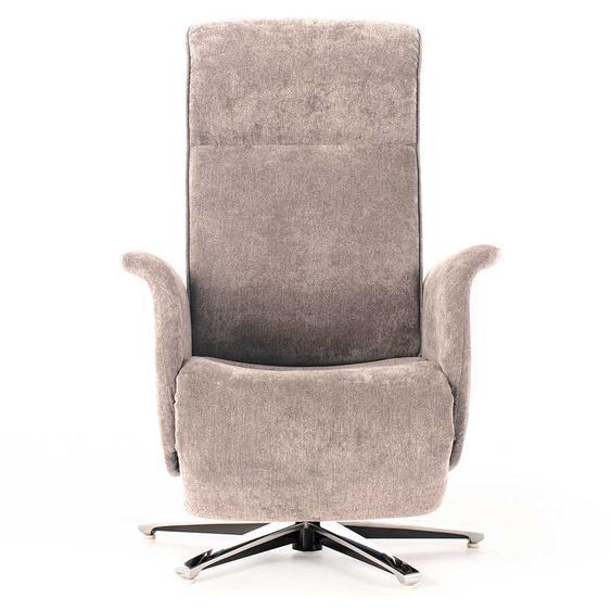 Drehbarer Sessel in Beige Webstoff Relaxfunktion