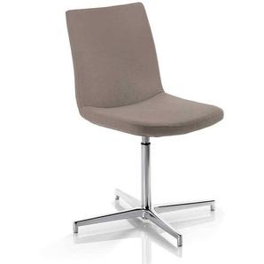 Drehbarer Stuhl in Taupe Leder Made in Germany