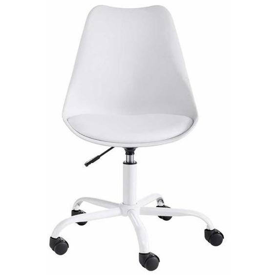Drehstuhl in Weiß Kunststoff Schalensitz