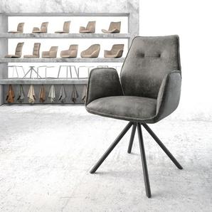 Drehstuhl Zoa-Flex Grau Vintage Kreuzgestell rund Schwarz, Esszimmerstühle