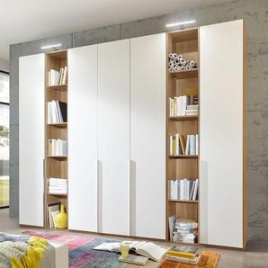 Drehtüren-Kleiderschrank Morolo, weiß, 3 Türen + 1 Regal