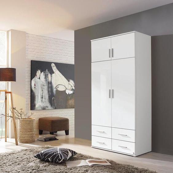 Drehtürenschrank 4-trg. in weiß mit Hochglanzfronten, 4 Schubkästen, 1 Einlegeboden und 1 Kleiderstange, Maße: B/H/T ca. 92/194/53 cm